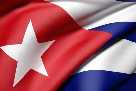 bandera cuba: 3d prestaci�n de una bandera de Cuba Foto de archivo