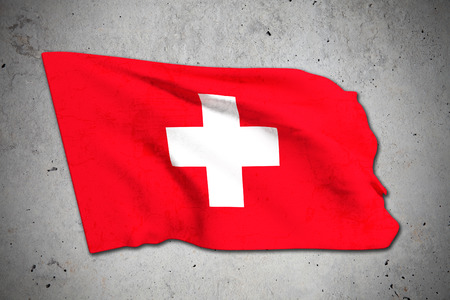 switzerland flag: 3d rendering of an old Switzerland flag