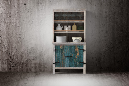dirty room: 3d rendering of an old wooden cupboard on a dirty room Stock Photo