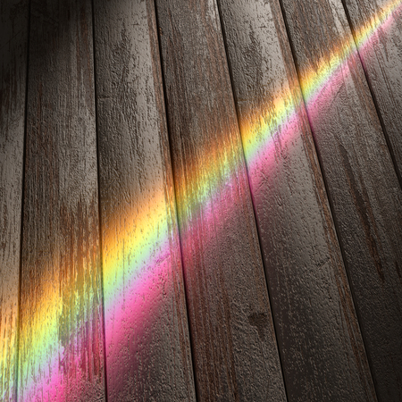 refraction of light: 3d rendering of a rainbow over a wooden floor