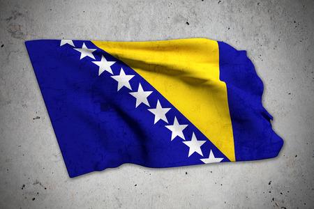 bosnia and herzegovina flag: 3d rendering of an old bosnia herzegovina flag