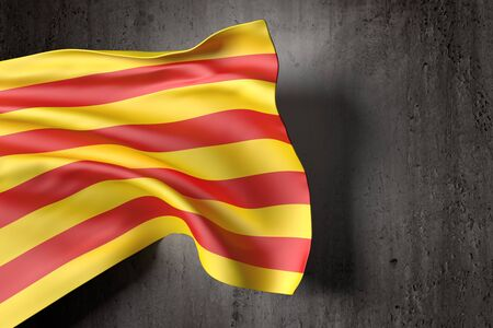 3d rendering of a catalonia flag on a dirty background
