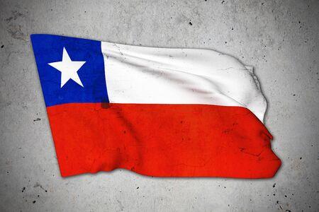 bandera de chile: Representaci�n 3d de una vieja bandera de Chile