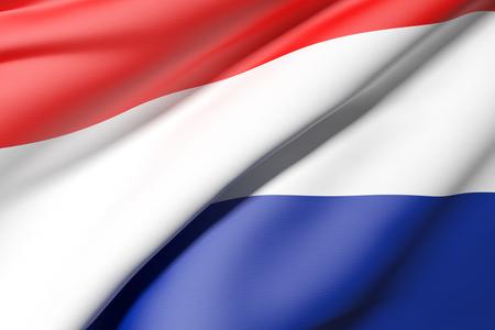 netherlands flag: 3d rendering of a Netherlands flag