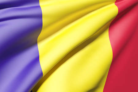 romania flag: 3d rendering of a Romania flag Stock Photo