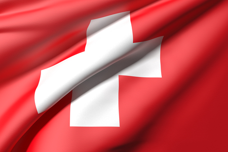 switzerland flag: 3d rendering of a Switzerland flag
