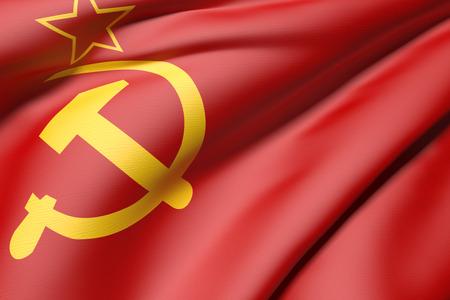 soviet flag: 3d rendering of an old soviet flag