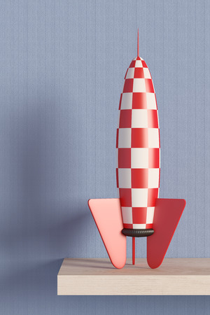 desolation: 3d rendering of a red and white rocket on a room