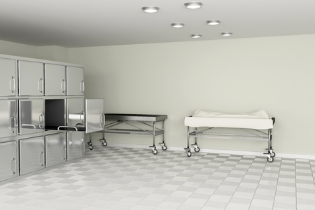 casualty: 3d rendering of a macabre autopsy room
