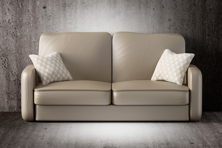 dirty room: 3d rendering of a sofa on a dirty room