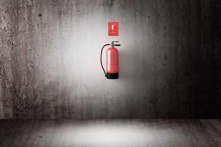 bombero de rojo: Representaci�n 3D de un extintor de incendios en una pared sucia