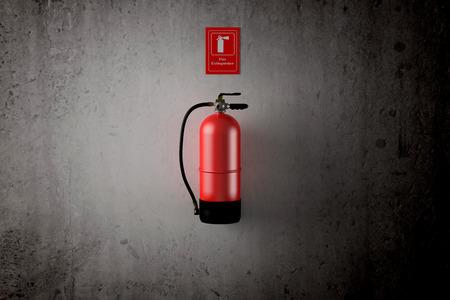 汚れた壁に消火の 3 d レンダリング