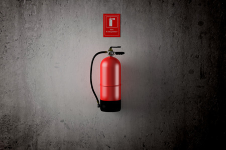 3d rendering of a fire extinguisher on a dirty wall