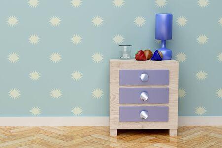 kids bedroom: 3d rendering of a beautiful children nightstand