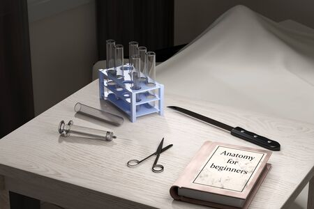 mortician: 3d rendering of a room of a trainee doctor