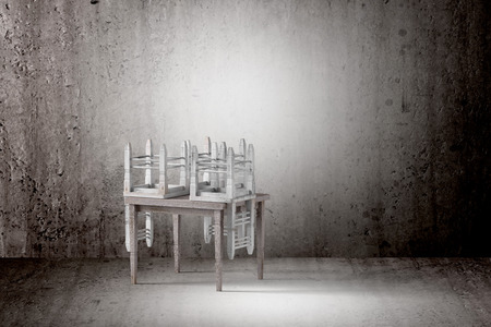 dirty room: 3d rendering of chairs and table in an old and dirty room