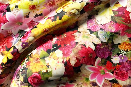 lots: background with lots of colorful flowers over a silk