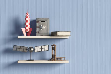 guillotine: 3d rendering of a shelf with some objects
