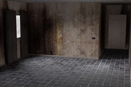 dirty room: 3d rendering of an abandoned and dirty room
