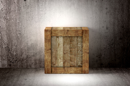 boxed: 3d rendering of a old wood box