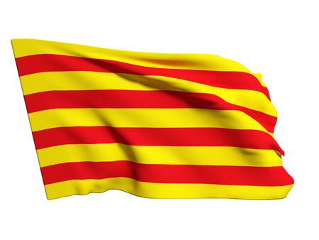 3d rendering of a catalonia flag on a white background 스톡 콘텐츠