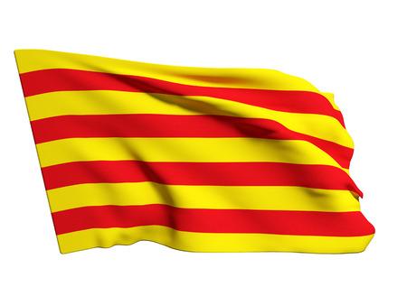 Representación 3D de una bandera en Cataluña en un fondo blanco