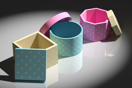 stamped: 3d rendering of some gift stamped boxes
