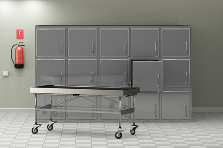 3d rendering of a macabre autopsy room
