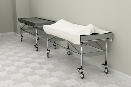 mortuary: 3d rendering of a macabre autopsy room