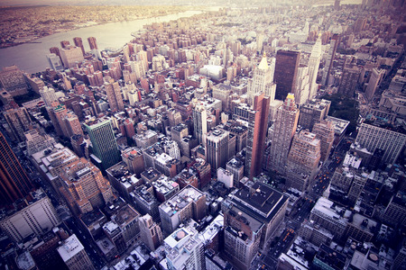 new york city panorama: aerial image of new york city