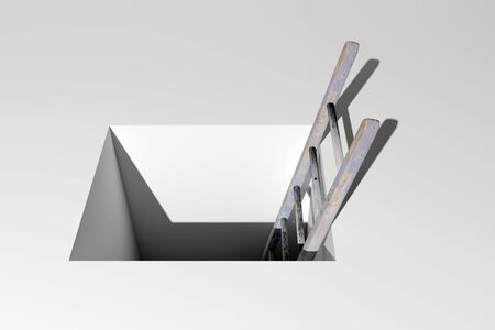 step well: 3d rendering of a ladder into a hole, concept of growth and progress Stock Photo