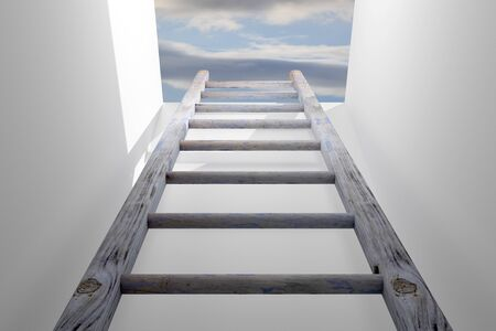 3d rendering of a ladder into a hole, concept of growth and progress Stock Photo