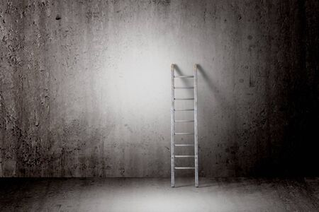 step well: 3d rendering of a ladder into a concrete wall, concept of growth and progress