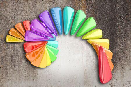 figuras abstractas: Representación 3D de algunas figuras abstractas y colores en una espiral sobre un fondo sucio, concepto de negocio positivo