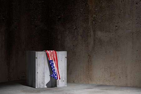 boxed: 3d rendering of an USA flag and a box on an old warehouse Stock Photo