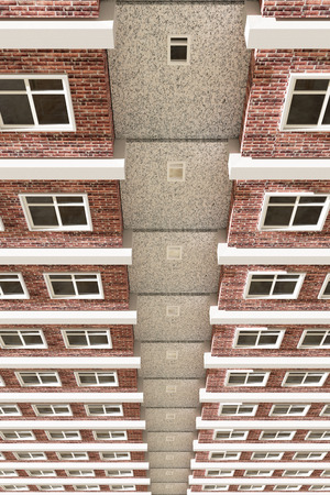 building lot: 3d rendering of a building with a lot of apartments Stock Photo