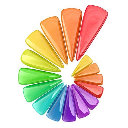 figuras abstractas: Representación 3D de algunas figuras abstractas y colores en una espiral, concepto de negocio positivo Foto de archivo