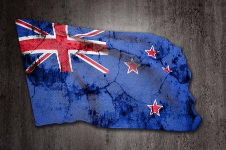 old new: 3d rendering of an old New Zealand flag on a dirty background
