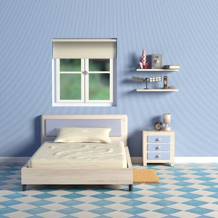 children room: 3D rendering of a blue kids room Stock Photo