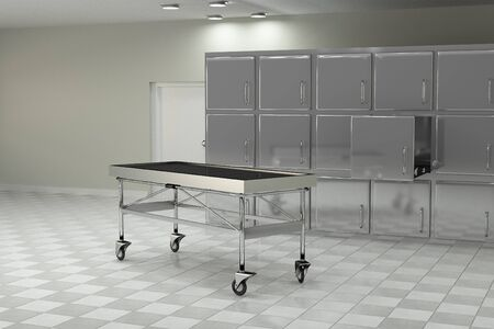 3d rendering of a macabre autopsy room