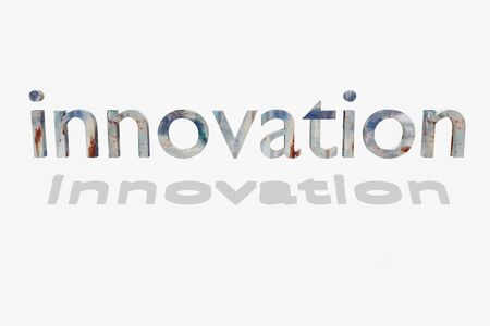 innovation word: 3d rendering of innovation word on a white background Stock Photo
