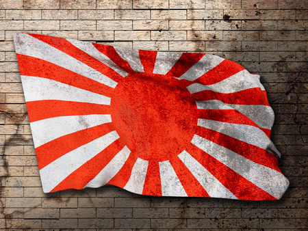 kamikaze: 3d rendering of an old japanese flag Stock Photo