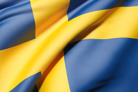 bandera suecia: Representaci�n 3D de una bandera de Suecia