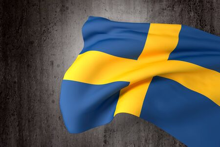 sweden flag: 3d rendering of a Sweden flag on a dirty background Stock Photo