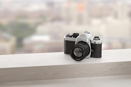 analog camera: 3d rendering of a reflex analog camera