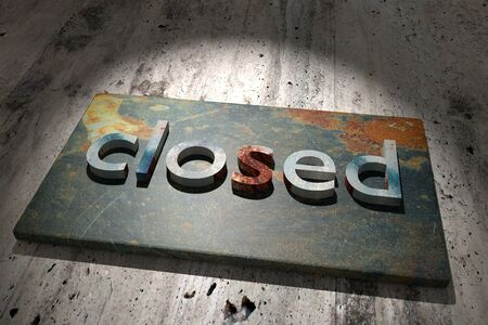 rusty: 3d rendering of the word closed over a rusty surface