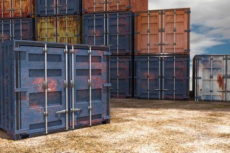 import trade: 3d rendering of some variety of containers