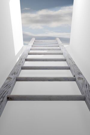 getaways: 3d rendering of a ladder into a hole, concept of growth and progress Stock Photo