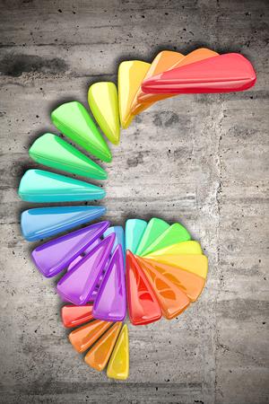figuras abstractas: Representación 3D de algunas figuras abstractas y colores en una espiral sobre un fondo sucio Foto de archivo