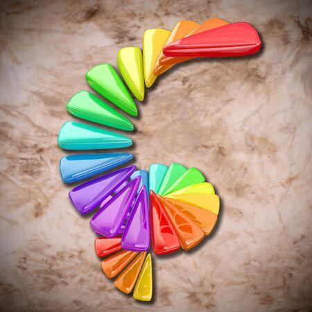 figuras abstractas: Representaci�n 3D de algunas figuras abstractas y colores en una espiral sobre un fondo sucio Foto de archivo